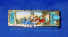 Lipstick Holder - Ugo Bellini Florence Vintage Gold Gilt 800 Silver Enamel