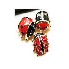 Broche Pin Dorado Tres Mariquita Insectos Esmalte Rojo Negro Retro Original XZ2