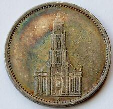 5 mark 1935 A, silver Nazi Germany coin, Potsdam Church, Rainbow Patina
