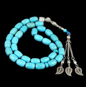 Islamic tasbeeh 33 bead Oval turquoise prayer bead tasbih islam beads misbaha uk