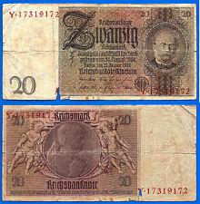 Germany 20 Reichsmark 1924 1929 Serie Y Reichsbanknote Mark Free Ship Wrld