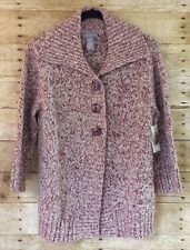 LAURA SCOTT Size M 3/4 Sleeve Marl Collared Knit Button Cardigan Sweater Red NWT