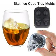 3D Skull Flexible Silicone Ice Cube Mould Tray Four Giant Skull Free Shipping