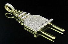 Hombres Plata De Ley Acabado De Oro Amarillo Diamantes Reales Plug Switch