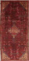 Geometric Hamadan Oriental 8 ft Runner Rug Wool Hand-Knotted Tribal Carpet 4x8