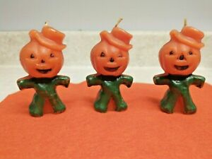 """3 Vintage Gurley Halloween  JACK-O-LANTERN Candles w/ wicks & no labels  """"As Is"""""""