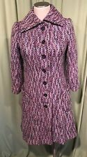 Funky Vintage 60's 70's Purple Tweed Wool Blend Coat Bust 32""