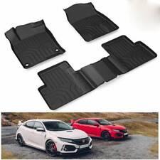 For 2016-2019 Honda Civic Sedan Floor Mats Hatchback Type-R Front & 2nd Seat Set