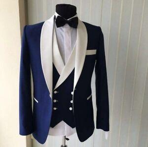 Men Navy Blue With White lapel Suit Groom Tuxedos Formal Wedding Suit Custom