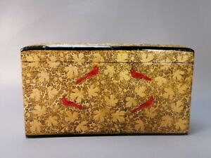 vintage ornate oriental wooden lacquered gold red birds box storage letter box