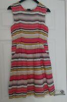 Olivia Bonas Ladies Bold Striped Multi Coloured Side Pockets Dress UK Size 12