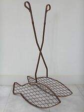 Art populaire ancienne grille fer forgé poisson 80cm accessoire chéminée XIX