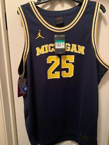 NWT Mens #25 3XL Jordan Nike Michigan Wolverines Basketball Jersey BLUE $75 XXXL