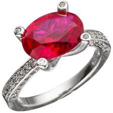 Ring Damenring Zirkonia rot oval geschliffen 925 Silber Fingerring Silberring