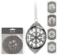 Set of 2 3D Silver Metal Christmas Tree Decorations Hanging Christmas Baubles