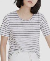 NWT Madewell Women's Whisper Cotton Crew Neck Tee Shirt White Striped Blue Sz M