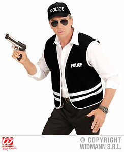 Polizei Weste FBI, Weste + Cap Kappe Kostüm schwarz Herren M-L, XL