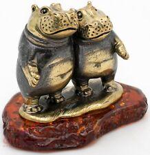 Solid Brass Amber Figurine Hippopotamus Hippo Behemoth couple IronWork