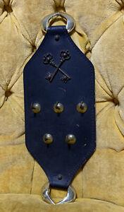 Vintage Black Leather Skeleton Key Wall Rack Holder Brass Car Trick House Work
