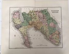 Wigton Shire 1885 Antique County Map, Bartholomew, Atlas, Scotland, Colour