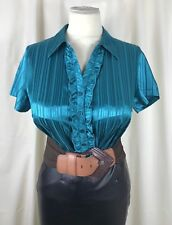 "NEW High Shine Wet Look Satin Blouse Ruffles Sissy TV CD Size 18 48"" Chest"