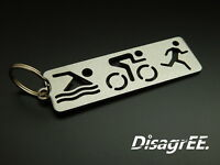 "Keyfob Keychain /""Triathlon/"" Swim Bike Run Stainless Steel Brushed"