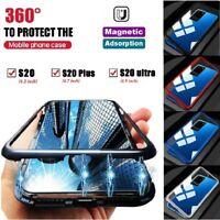Magnetic Shock Obsorption Glass Case + Fingerprint supported Film For S20+ Ultra