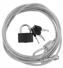 3M ULTRA STRONG STEEL SECURITY CABLE WIRE LOCK & KEYS FOR BIKES LAPTOPS MONITORS