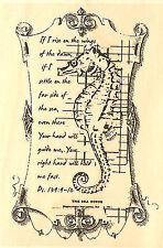 Seahorse Collage Wood Mounted Rubber Stamp IMPRESSION OBSESSION D13023 New