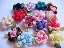 40 Fancy 2 tone Satin Ribbon Flower Applique-Mix R006