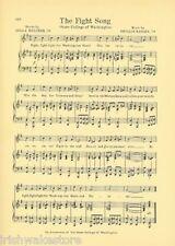 """WASHINGTON STATE UNIVERSITY Song Sheet c 1927 """"The Fight Song"""" WSU Wazzu"""