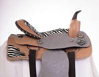 "USED 15"" ZEBRA SYNTHETIC LEATHER WESTERN PLEASURE TRAIL BARREL HORSE SADDLE"
