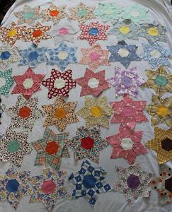 "94 Large Vintage Star Patchwork Quilt Blocks Hand Stitched 11 1/2"""
