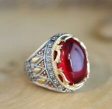 Turkish Handmade Jewelry Sterling Silver 925 Ruby Mens Ring 7-13