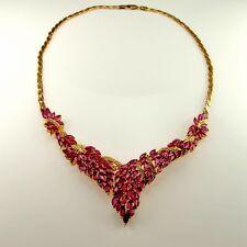Rose Pink Red Natural Ruby Diamond Cluster Necklace V Shaped 1950s 14K Gold 585