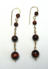 Lyns Jewelry Red Tiger's Eye Drop Earrings Gold