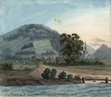 SERVOZ ON ROAD TO CHAMONIX FRANCE Watercolour Painting ELIZABETH CAMPBELL 1822