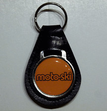 Reproduction Vintage MotoSki Logo Medallion Leather Keychain