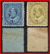 CANADA 1903  EDWARD VII 5c + 7c SC#91-92 MHHR OG CV$580.00
