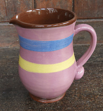 Vintage Hand Painted Studio Pottery / Earthenware Jug c 1930s - Unusual Piece