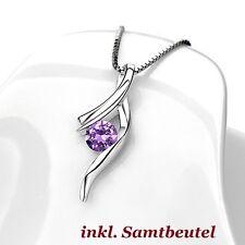 925 Silber Kristall Anhänger Feder Strass Schutzengel Engelsrufer Halsketten NEU