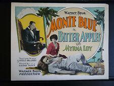 1927 BITTER APPLES - MYRNA LOY + MONTE BLUE - RARE VINTAGE TITLE LOBBY CARD