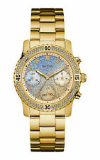 New Guess Ladies W0774L2 Pop Sugar Round Dial Crystals Gold IP Band Watch