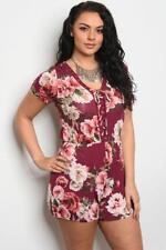 NEW..Stylish Plus Size Burgundy Floral Print Romper Playsuit Shorts..SZ16/1XL