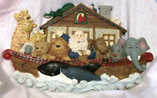 """Large Noah'S Ark Wall Hanging Plaque Nursery Decor Animals Owl Whale Gater 14"""""""