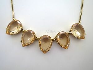 NIB AUTHENTIC Signed J.Crew Store TEARDROP CRYSTAL NECKLACE - Sunwashed Peach