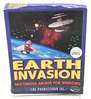 Earth Invasion Vintage Big Box PC Game Multimedia Arcade for Windows 3.1 DOS 5.0