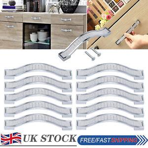 10PCS Modern 96mm Door Knob Handles Crystal Diamond Cupboard Cabinet Kitchen UK