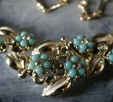 vintage 1950s turquoise clear rhinestone enamel flower gold tone necklace -Q42