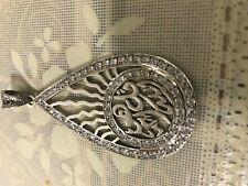 Huge Islamic Muslim Quran Allah 925 Sterling Silver Man Woman Pendant Charm